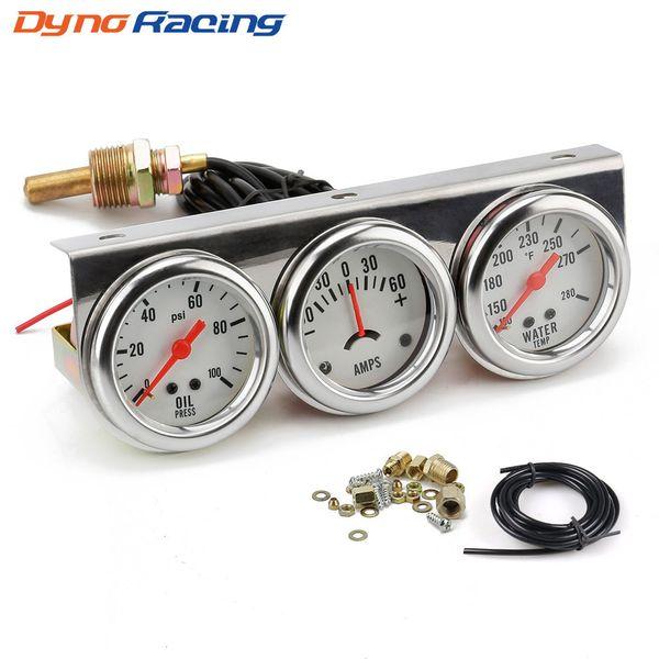 best selling 2inch Chrome Panel Oil Pressure gauge Water Temp gauge Amp Meter Triple Gauge kit Set White Face Car meter YC101323