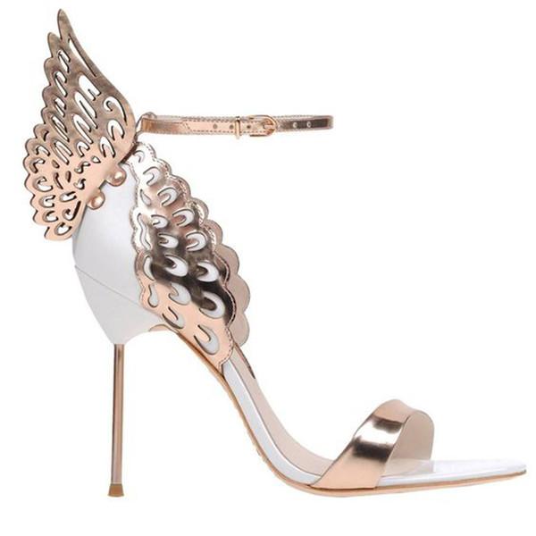 Lüks Stiletto Metal Topuk Ayak Bileği Kayışı Sandalet Düğün Ayakkabı Kadın Fretwork Kelebek Kanat Kadın Sandalet