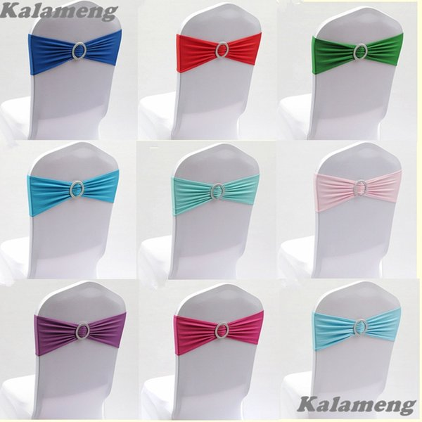 Express Free 100pcs Lycra Spandex Band With Buckle For Wedding Covers--popular Chair Sashes Cr-901 Q190603 Q190603