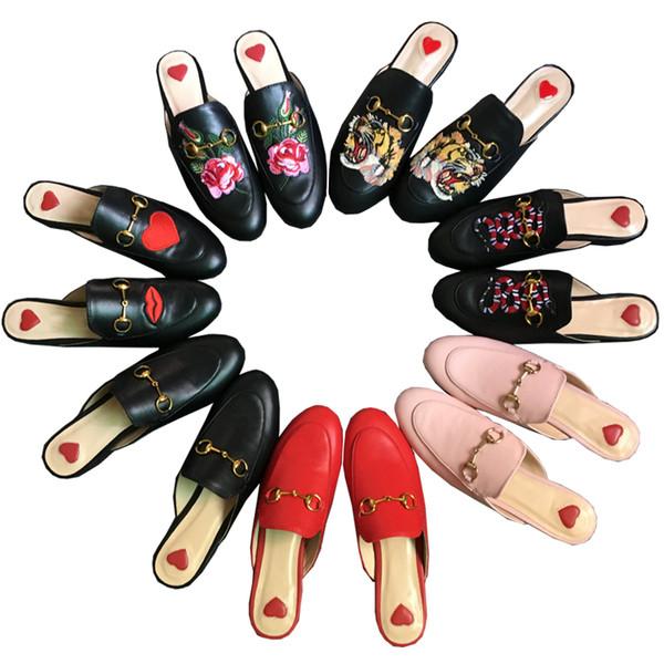 Ücretsiz kargo Lüks deri loafer'lar Muller terlik ayakkabı toka ile Moda kadınlar Princetown terlik Bayanlar Casual Katır Daireler