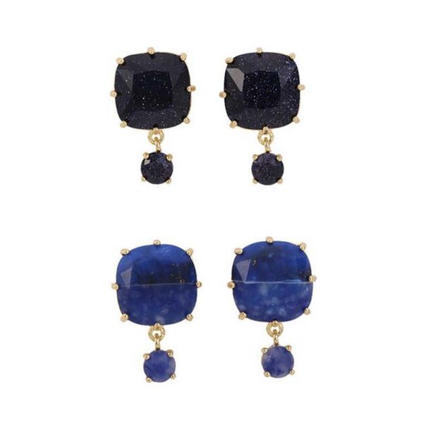 2019 New arrivals Handmade Faceted Black and blue gem Earring Glass Crystal Earrings Jewelry