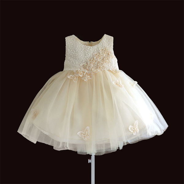 Christmas Embroidery Pearl Butterfly Sleeveless Girl Dress Baby Girls Clothes Kids Dresses Infant Clothing For 6m-4y Y19061001