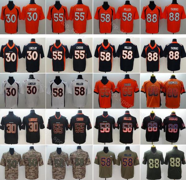 3598e28e826 Denver Football Men Broncos 58 Von Miller Jersey 30 Phillip Lindsay 55  Bradley Chubb 88 Demaryius