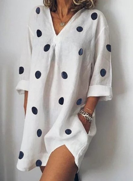 5XL Womens Summer V-Neck Dresses Casual Polka Dot Loose Split Dress Fashion Female Apparel