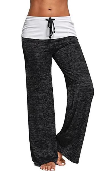 2019 DHL Women's Summer Wide Leg Comfy Casual Pajama Pants Drawstring Palazzo Lounge Pants Wide Leg Yoga Pants
