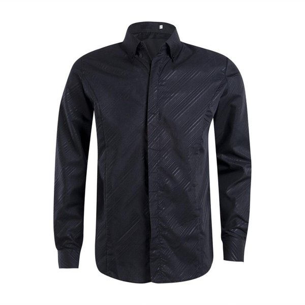 2019 New Brand Button Solid Formal Shirt Men Luxury Stylish Casual Dress Shirt Slim Fit Long Sleeve Formal Tops