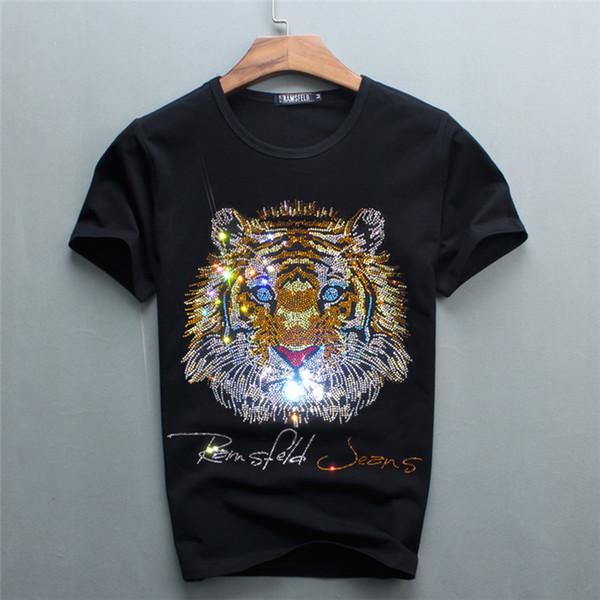 Magliette corte da uomo di colore nero a 5 colori con magliette a manica corta di marca T-shirt a manica corta in cotone a tema Tiger Luxury Gold