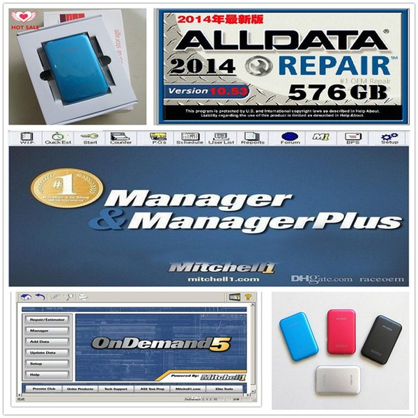 With Fast Free ship Auto repair soft-ware with 750GB usb hdd drive Alldata 10.53+Mit on d*m*nd 2014 122gb +plus 3in1