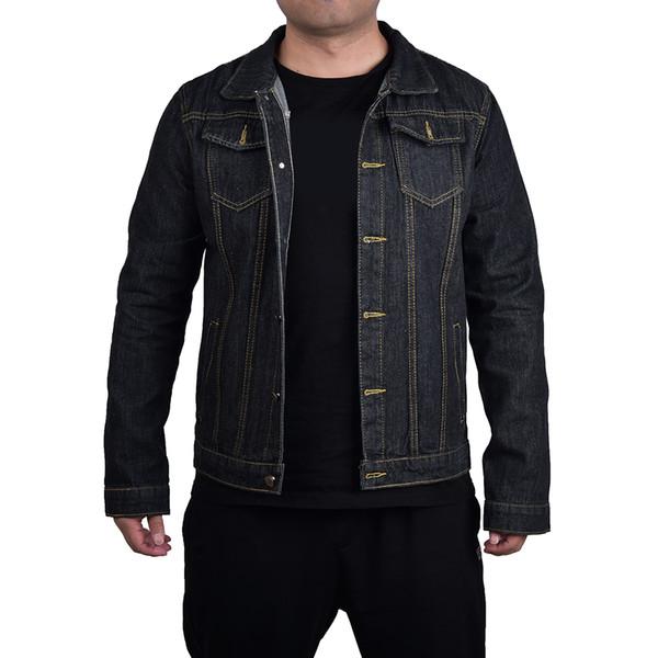 Denim Mavi Siyah Erkek Ceketler Eski Moda Serin Streetwear Erkek Ceket ve Mont Vintage Erkek Kot Ceket Erkek Ceket 2019 D20