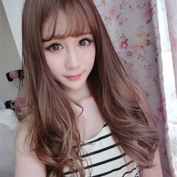 Wig Female Long Curly Hair Korean Big Wave Long Hair Qi Air Bangs Natural Realistic Fluffy Simulation Wig Set Afro Wig Glueless Full Lace Wigs From
