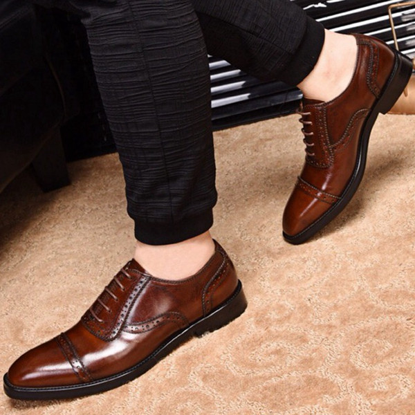 Men's Shoes, Bags and Posts 2019 New Summer Men's Business Leather Shoes, Dressed in Cowhide, Leisure Korean Edition Trend, Ins Doubled Tie