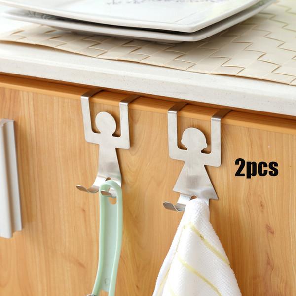 2 Pcs Accueil Cabinet Porte Sans Trace Poche Crochets En Acier Inoxydable Crochet De Porte Arrière Incognito Nail Rack De Stockage pour Cuisine