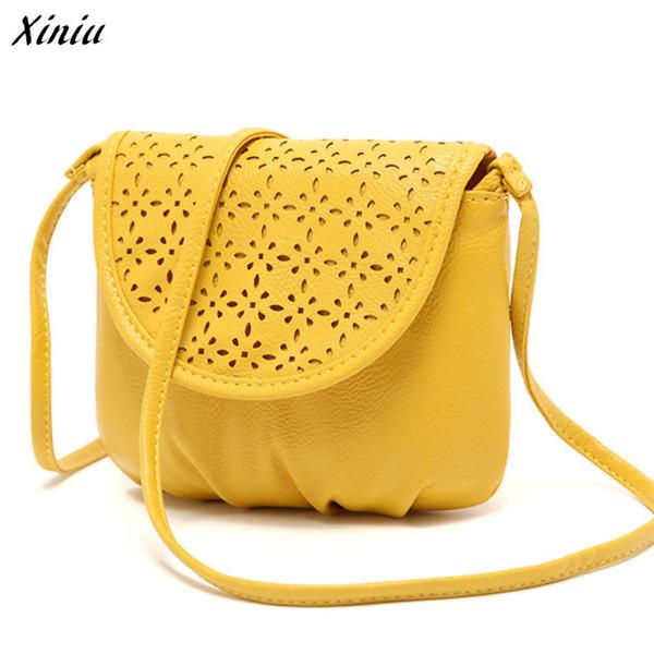 Sarı Çanta Kadın PU Deri Satchel Omuz Çantaları Zarif Bayanlar Satchel Çapraz Vücut Mini Messenger Satchels Sarı # 6122