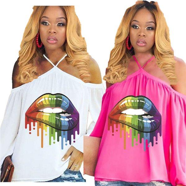Women Rainbow Lips Tshirts Summer Off Shoulder Tops Tee Sexy Street Oversized T-Shirts Ladies Loose Slash Neck Long Sleeve Halter Vest A4807