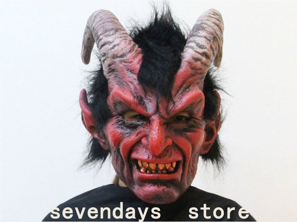 2018 New Scary Adult Costume Horn Mask Horror Party Cosplay Halloween Latex Scary Horns Red Devil Mask for Party Cosplay