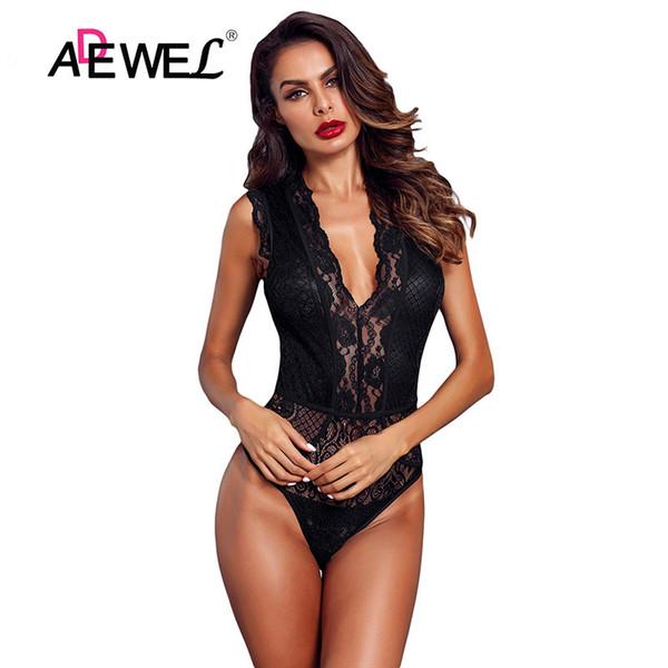 Adewel Frauen Schwarz Aushöhlen Spitze Body Sexy Ärmellos V-ausschnitt Body Tops Weibliche Club Tragen Dünne Transparente Bodys Y19051601
