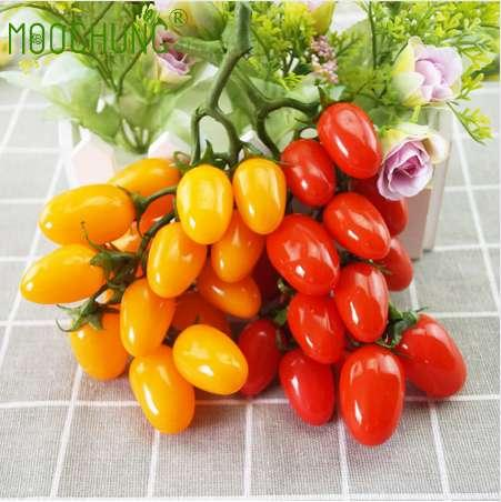 2 Pack 32 PCS Ornement Artificielle Fruits Tomates Cerises Faux Faux En Plastique Réaliste Simulation Maison Maison Cuisine Décoration Décor