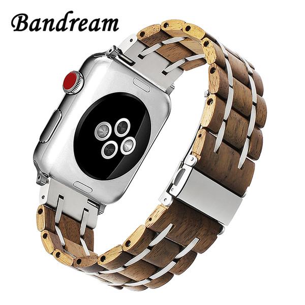 Correa de reloj de acero inoxidable de madera genuina para iWatch Apple Watch 38/40/42 / 44mm Serie 4 3 2 1 Pulsera de eslabones de banda de sándalo