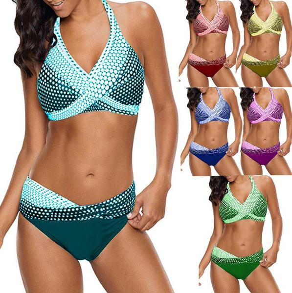 Donne Sexy Bikini Set due pezzi del vestito di nuoto Polka Dot Swimwear Costume da bagno donna Moda Bagnanti i vestiti di bagno più dimensioni