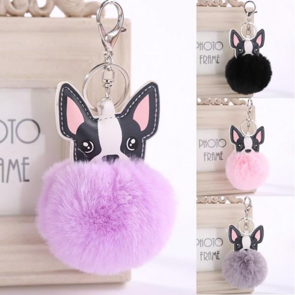 Ücretsiz DHL 6 Stilleri Tavşan kürk Sevimli Köpek Anahtarlık Topu Pom Pom Anahtarlık Çanta Çanta Charm Aksesuar Anahtar zincirleri yüzükler Takı Hediyeler D475Q Y