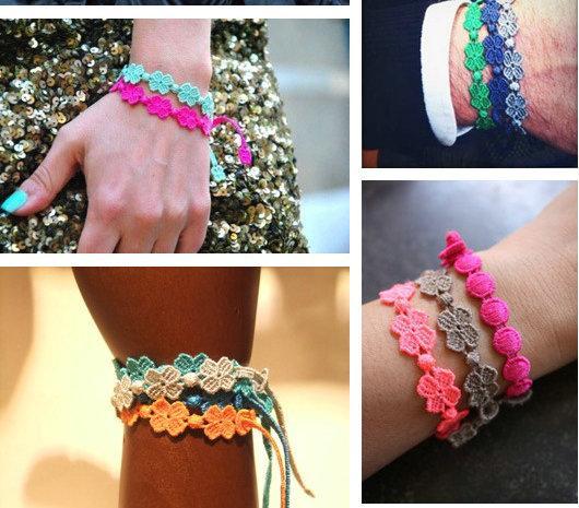 mélanger les couleurs Bracelet d'amitié Style italien Bracelet en dentelle tricoté Jolie jolie petite fleur Bracelet Fille