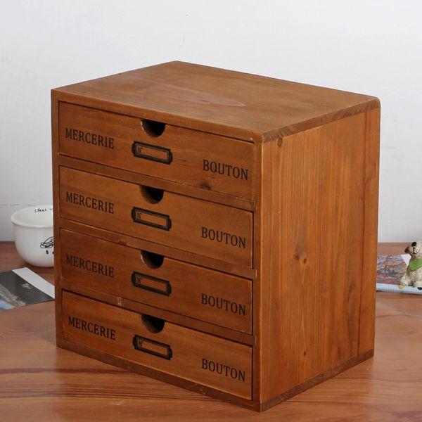 Wooden Storage Box 4 Layers Drawer Desk Retro Househpld Decor Organizer Multi-functional Wooden Storage