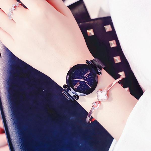 Reloj de las mujeres Moda de acero relojes de pulsera a prueba de agua reloj de la señora imán hebilla estrellada cielo dial dial regalo de Navidad LJJV408