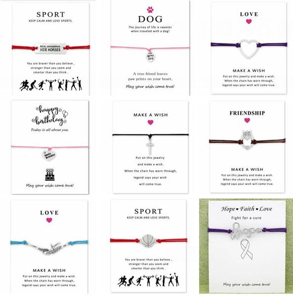 Wish Bracelet With Gift Card Dog Paw Love Unicorn Teacher Charm Bracelets Bangles Women men Friendship Statement Jewelry Greeting Cards