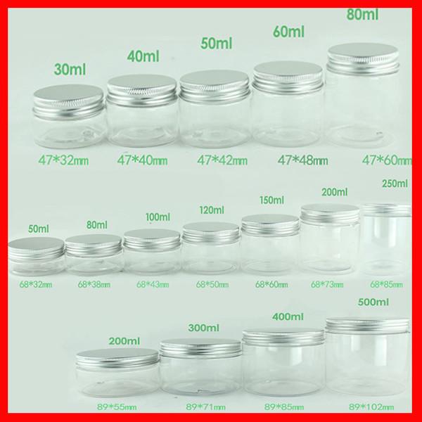 Vaso PET trasparente w Coperchio in alluminio Contenitori cosmetici vuoti Vaso di plastica Scatola per trucco 30ml 40ml 50ml 60ml 80ml 100ml 120ml 200ml 250ml