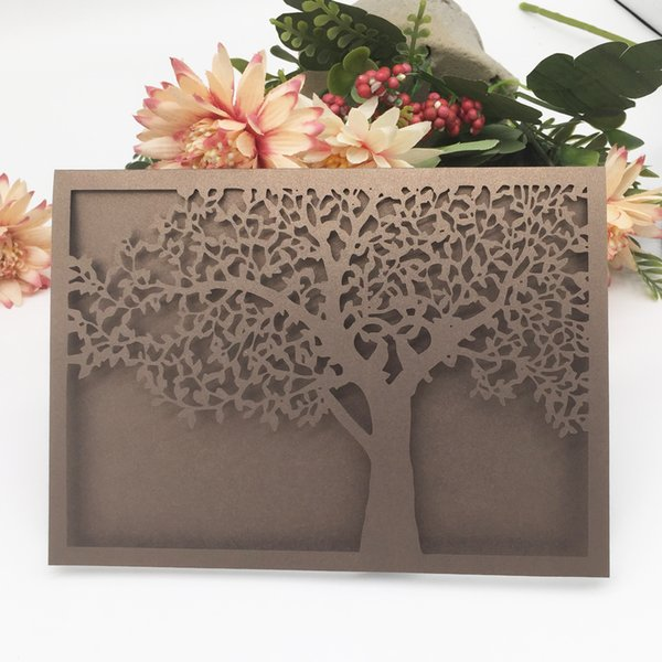 45PCS /lot Wholesale Luxury Design With Lace Big Tree Honey Wedding Invitation Cards Apply To High-end Grand Events