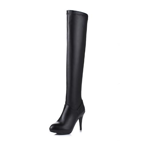 Women Super High Thin Heel Shoes Female Solid Round Toe Zipper Design Boots Fashion Over-the-Knee Autumn Light Leather BootsZ453