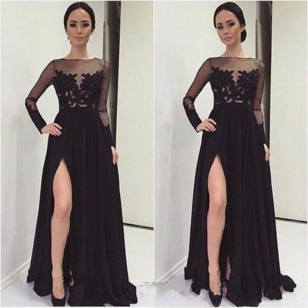 2019 noir élégant manches longues robes de demoiselle d'honneur fendus dos nu Appliques Femme de ménage d'honneur Tenue de soirée de robes Plus Size