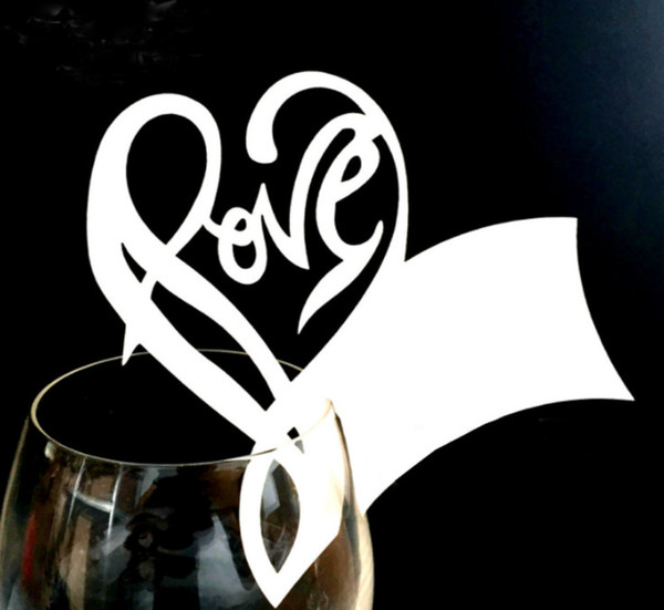 2019 Creative Red wine cup Card LOVE Words And Heart Shape Laser Cut Hollow Wine Glass Card Table Name Place Party Decorations