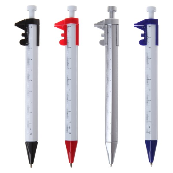 Multifunctional Scale Ruler Ballpoint Pen Screwdriver Caliper Level Pen with Blue Refill Stationery School Office Supplies Gifts