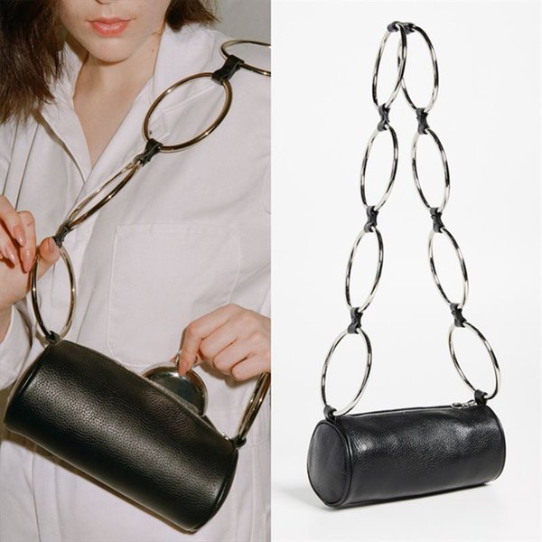 Circular Scrub Litchi PU Leather Handbag Women Retro Metal Ring Messenger Shoulder Bag Woman Small Round Crossbody Bag For Women