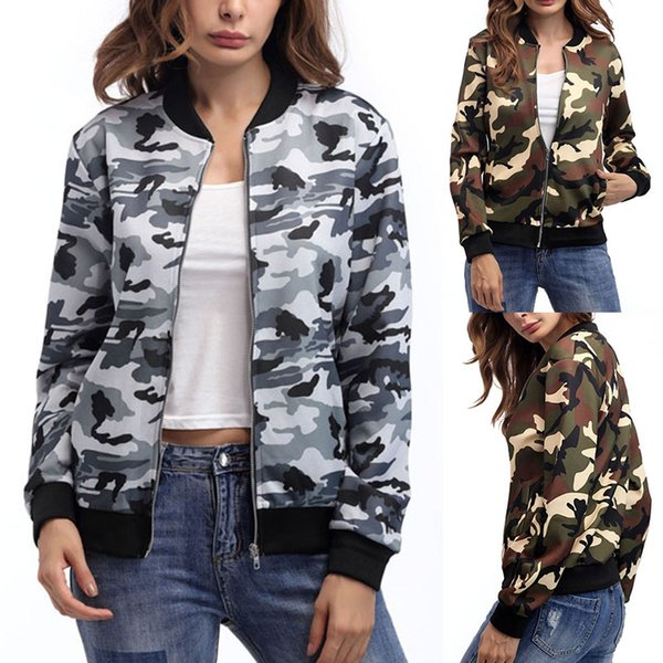 619c45eea Womens Lady Long Sleeve Biker Camouflage Army Printed Bomber Jacket Coat  Outwear Motorcycle Leather Jackets Flight Jackets From Caeley, $34.71| ...
