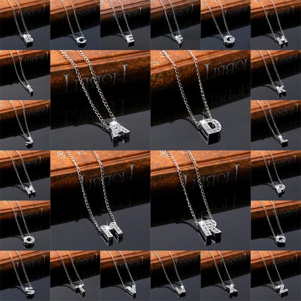 A-Z amantes de cristal collar de gargantilla carta personalizada nombre de amor creativo del collar del collar de cadena de plata colgante de las mujeres Hembra