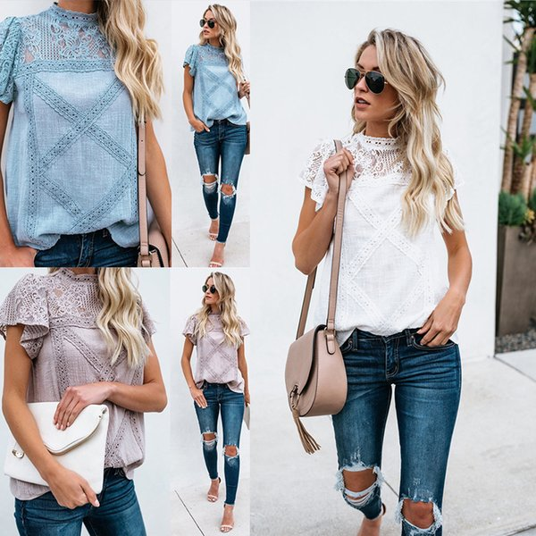 Women T-shirt Casual Hollow Out Lace 2019 Summer Fashion Breathable Crew Neck Short Sleeve T-shirt Cotton Blend Size S-XL