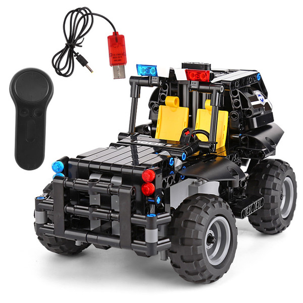Yeshin 13005 Uzaktan Kumanda Araba Modeli Oyuncaklar Silahlı Devriye Araba Set Yapı Taşları Tuğla Montaj Çocuk Oyuncakları Çoc ...