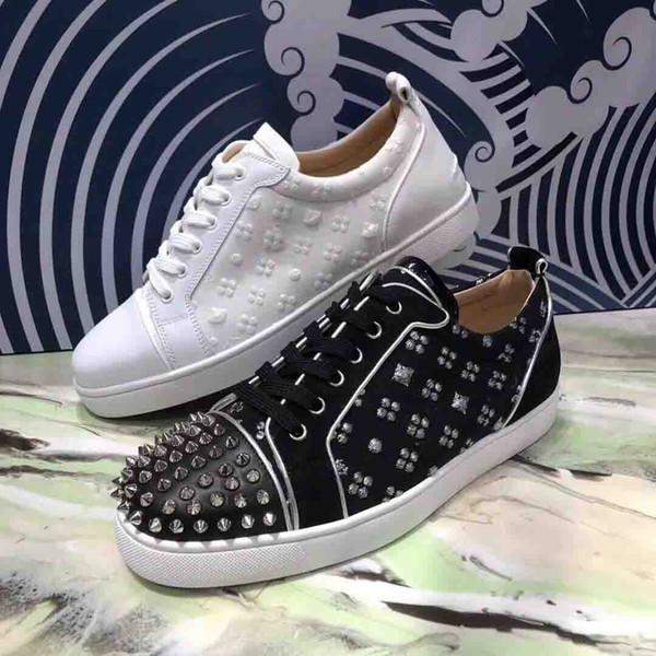 Yeni Sezon Sneakers Kırmızı Alt Genç Çivili Ayakkabı Siyah Erik + Nakış Genç Orlato erkek Düz Lüks Tasarımcılar rahat Düz Ayakkabı
