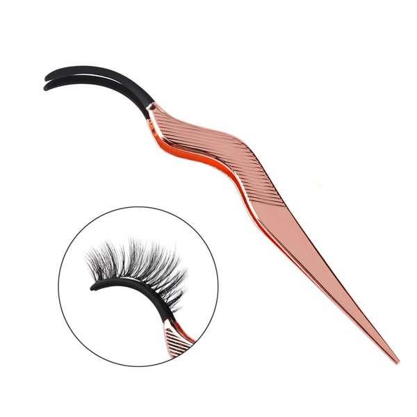 1 Pieces Rose Gold Stainless Steel False Eyelashes Curler Tweezers False Eye Eyelashes Applicator Clip Remove Make -up Extension Tools