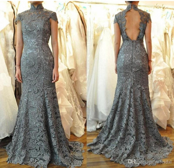 Grey Backless Mermaid Lace Prom Dresses 2017 New Short Sleeve High Neck Floor Length Formal Evening Dresses Party Gown Custom Made Plus Size