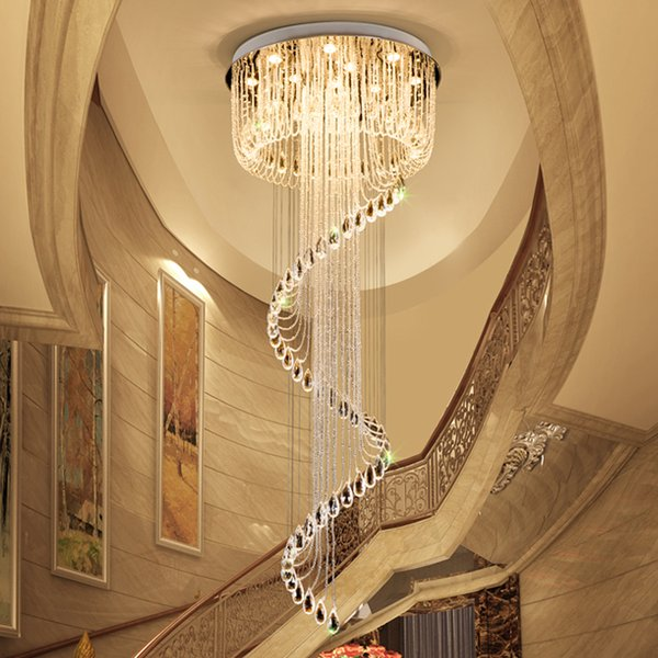 New design modern crystal spiral raindrop chandelier lighting flush mount LED ceiling light fixtures stair duplex building pendant lamps