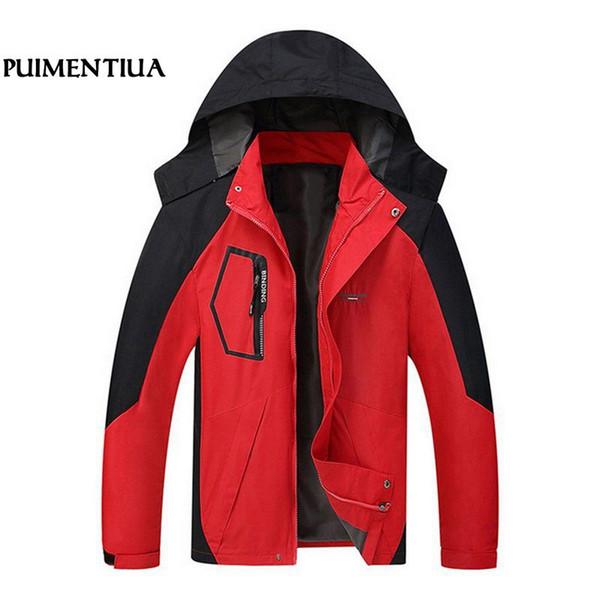 Puimentiua Autum Водонепроницаемая заплатки Куртки Мужчины вскользь пальто Мужчины Верхняя одежда Плюс размер Мужские ветровки chaqueta Hombre