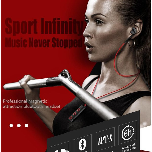 Bluetooth Earphone Sport Running Wireless Bluetooth Earphones Stereo Bass In-Ear Wireless Headset Magnetic Neckband with MicEarphones With M