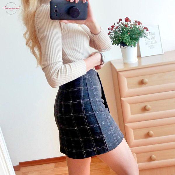 Saias de inverno cintura alta Plaid saias das senhoras magro Bodycon Saias Irregulate Lã Jupe Sexy Mini Petticoat Malha