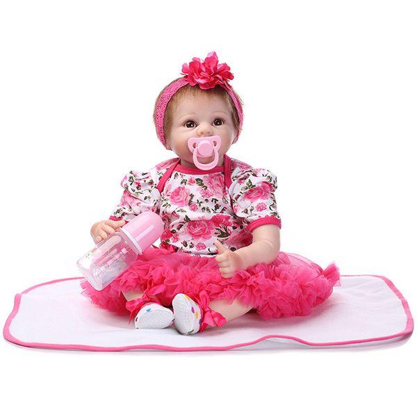 55 cm silicone reborn baby doll crianças playmate presente para meninas bebê vivo brinquedos macios para bouquets boneca bebe renascer