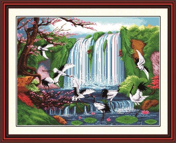 Märchenland auf Erden Wohnkultur Gemälde, handgemachte Kreuzstich Stickerei Hand setzt gezählt Druck auf Leinwand DMC 14CT / 11CT