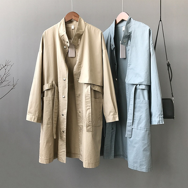 2019 Primavera Autunno Casual Trench Coat per le donne Large Size Medium lungo Outwear Stand manica lunga Giacca a vento femminile AA661