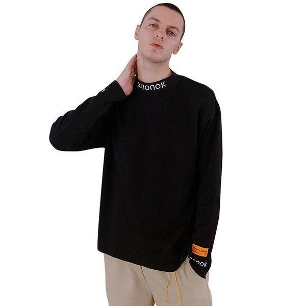 Mens manga larga camisetas Niza otoño Pop Vogue Hip Hop O cuello Pullover Casual negro y naranja Tees Patchwork alta moda Streetwears